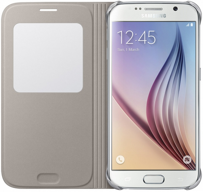 Чехол Samsung S View Zero для Samsung Galaxy S6 Gold (EF-CG920PFEGRU) - 2