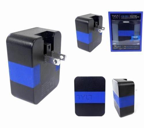 Сетевое зарядное устройство Tylt Wall Travel Charger 4,2A Dual USB Port Black-Blue (USBTC42BL-EUK) - 4