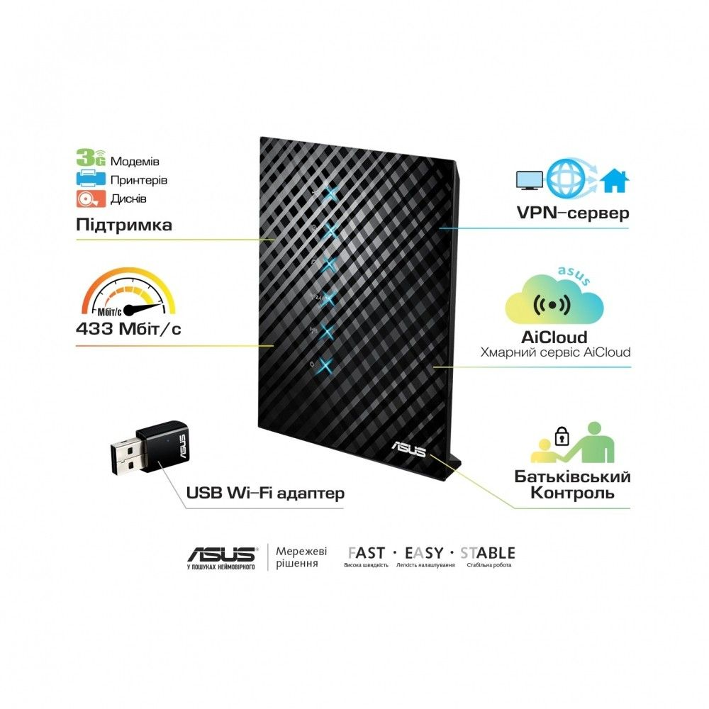 Wi-Fi роутер ASUS RT-AC52U Combo Pack - 1