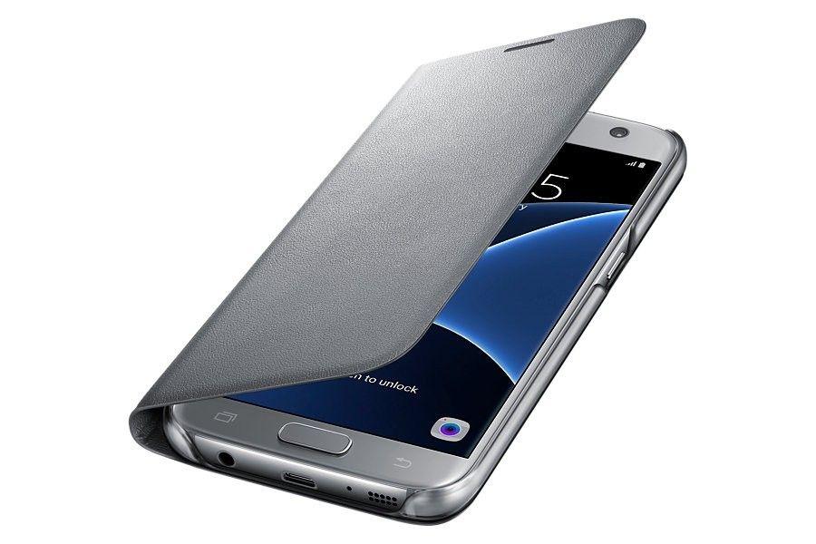 Чехол Samsung LED View для Galaxy S7 Edge Silver (EF-NG935PSEGRU) - 1