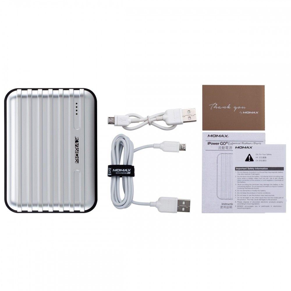 Портативная батарея MOMAX iPower GO+ Luggage External Battery Pack 13200mAh Silver (IP24APS) - 1