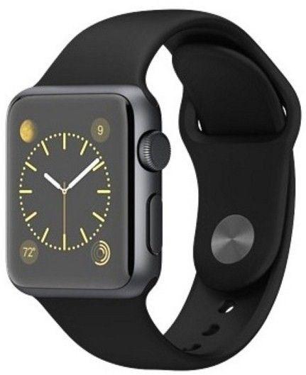 Смарт часы Apple Watch Sport 38mm Space Gray Aluminum с чёрным спортивным ремешком MJ2X2 - 3