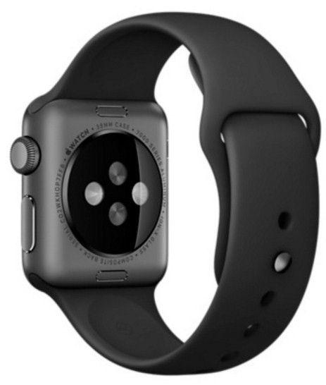 Смарт часы Apple Watch Sport 38mm Space Gray Aluminum с чёрным спортивным ремешком MJ2X2 - 2