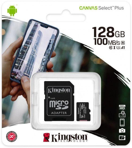 Карта памяти Kingston microSDXC 128GB Canvas Select Plus Class 10 UHS-I U1 V10 A1 + SD-адаптер (SDCS2/128GB) от Територія твоєї техніки - 3
