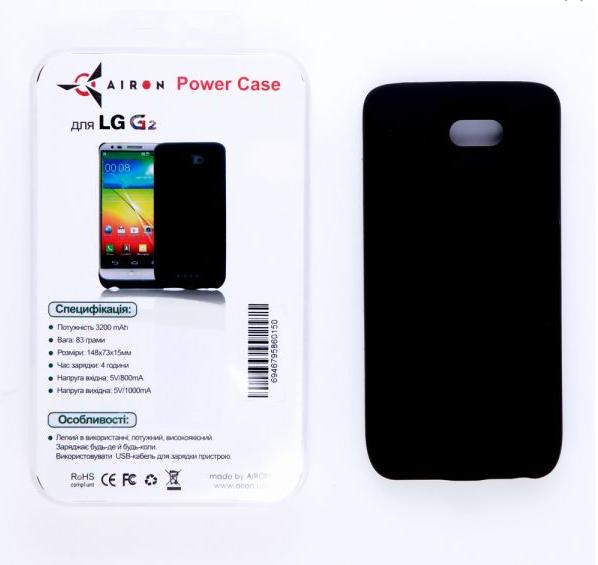 Чехол-аккумулятор AIRON Power Case для LG G2 Black (6946795860150) - 2