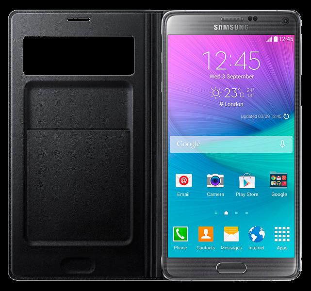 Чехол Samsung S View Wallet mini window EF-EN910FKEGRU Black для Galaxy Note 4 N910 - 3