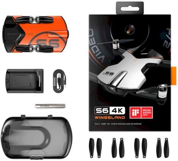 Квадрокоптер Wingsland S6 GPS 4K Pocket Drone-2 Batteries pack (6381695) Orange