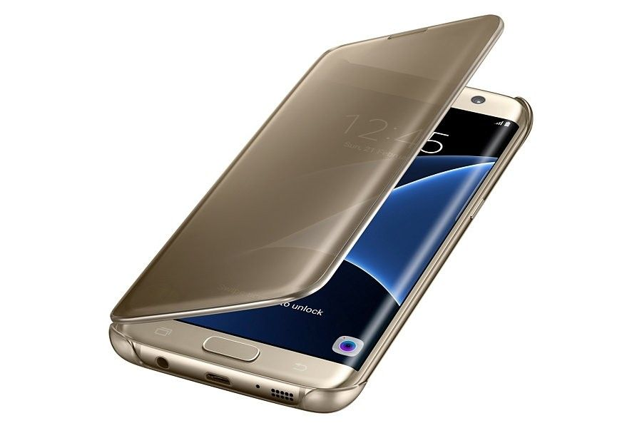 Чехол Samsung Clear View Cover для Galaxy S7 Edge Gold (EF-ZG935CFEGRU) - 2