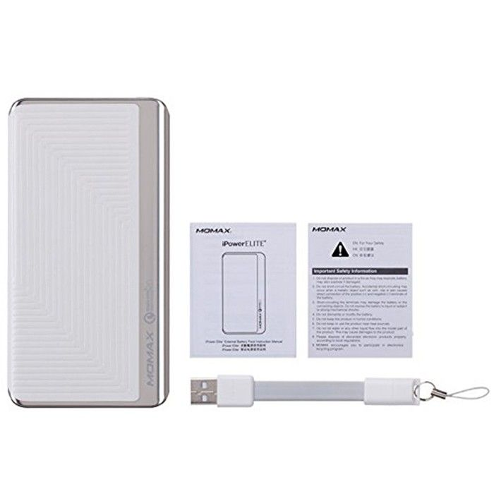 MOMAX iPower Elite+ External Battery Pack 8000mAh QC2.0 Emboss White (IP52BW) - 2