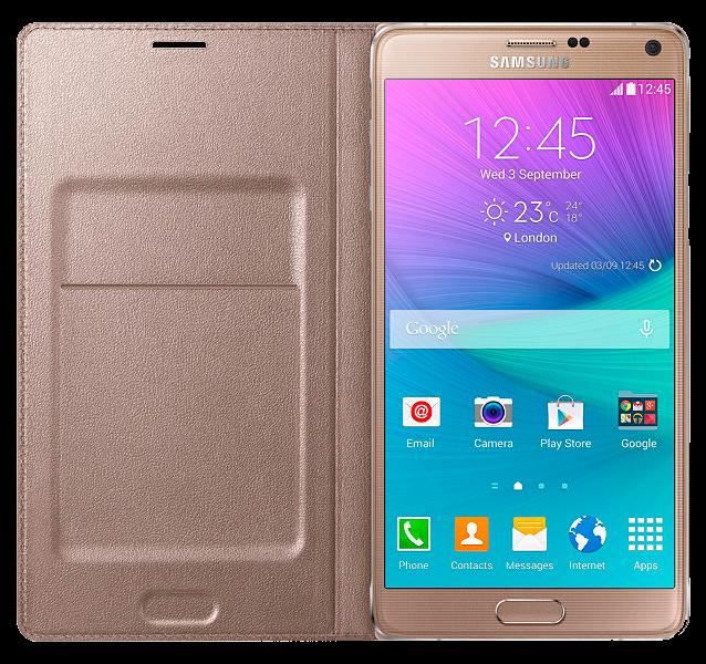 Чехол Samsung LED Flip Wallet для Samsung Galaxy Note 4 N910H Gold (EF-NN910BEEGRU) - 1