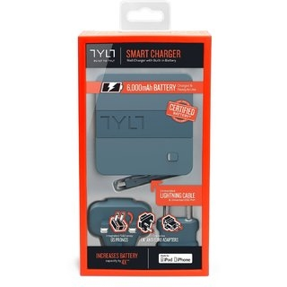 Портативная батарея Tylt Energi 6K+ Smart Travel Charger + PowerBank 6000mAh with Lightning cable Gray (IP5NRG6TCGY-EUK) - 2