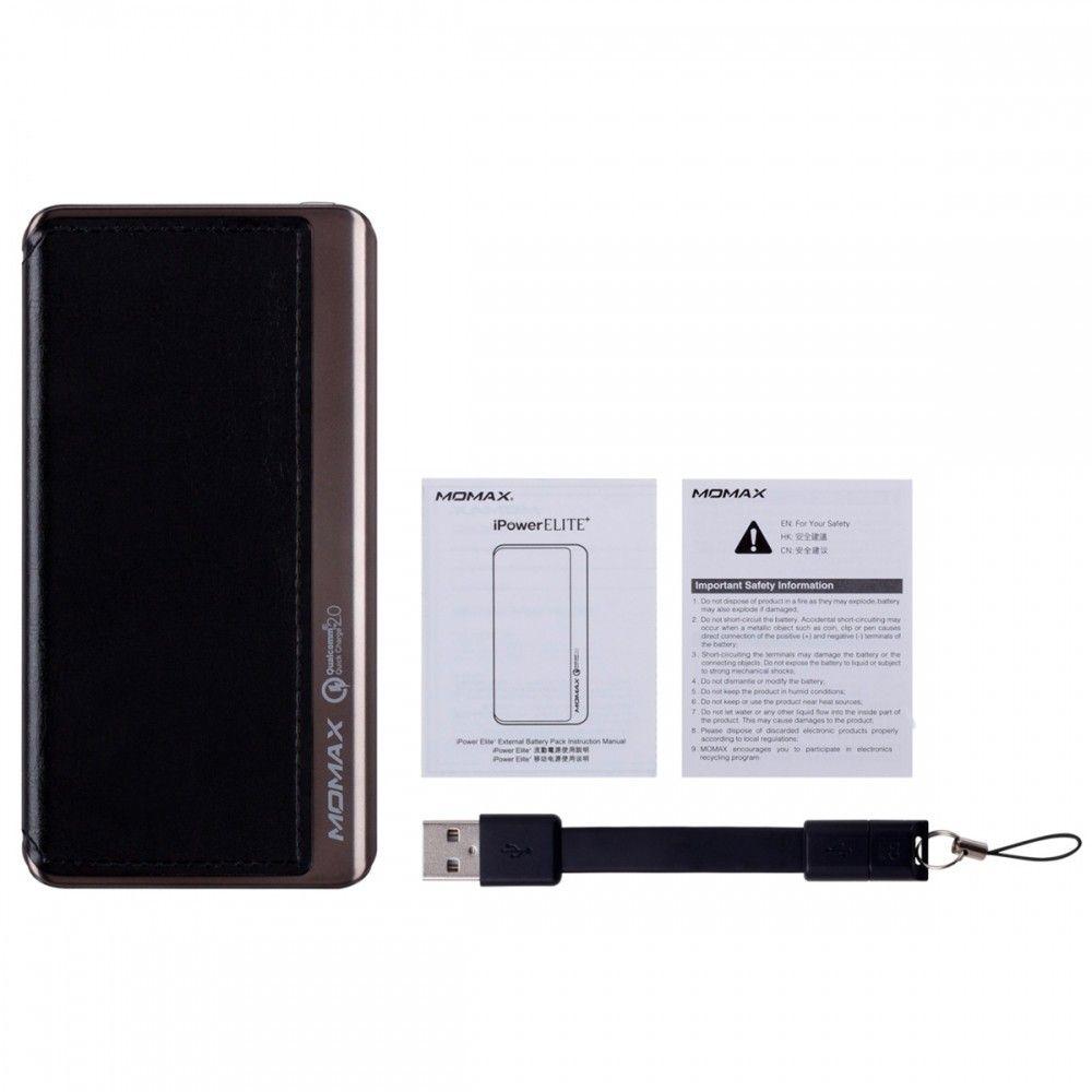 Портативная батарея MOMAX iPower Elite+ External Battery Pack 8000mAh (MFI) QC2.0 Black (IP52MFID) - 1