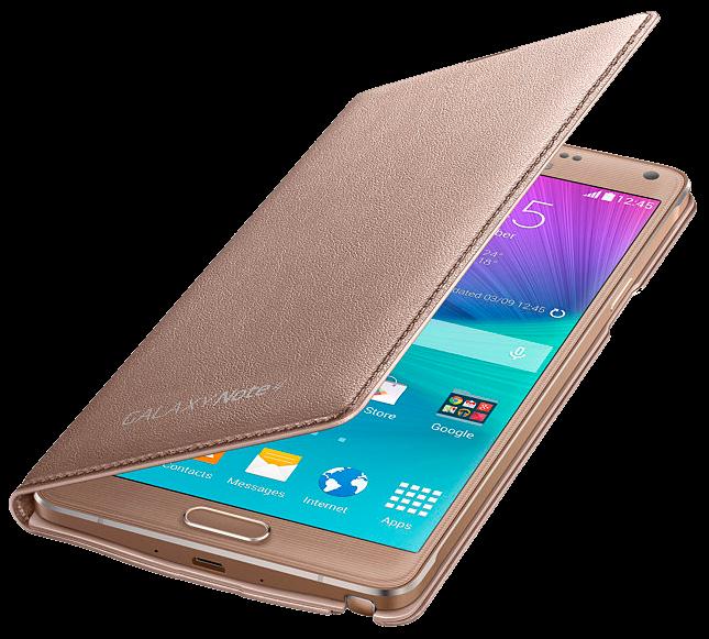 Чехол Samsung LED Flip Wallet для Samsung Galaxy Note 4 N910H Gold (EF-NN910BEEGRU) - 2