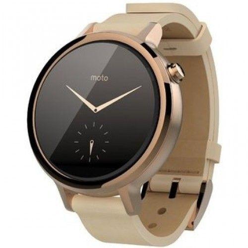 Смарт часы Motorola Moto 360 2nd Generation Smartwatch 42mm Stainless Steel with Rose Gold Leather Strap - 1