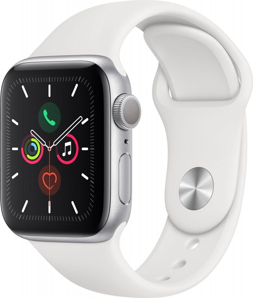 Смарт часы, Apple Watch Series 5 40mm Silver Aluminum Case with White Sport Band MWV62GK/A  - купить со скидкой