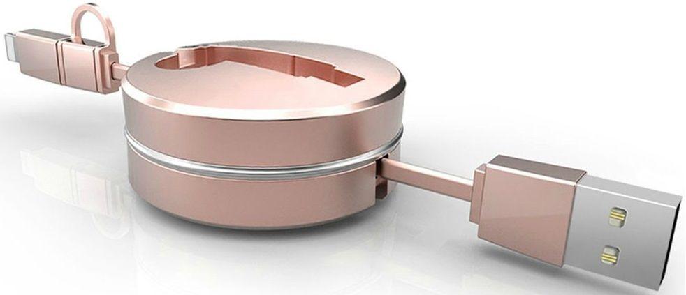 Купить Кабели синхронизации, Кабель-рулетка USB to Micro USB 1.5m тканевый Gold, Other