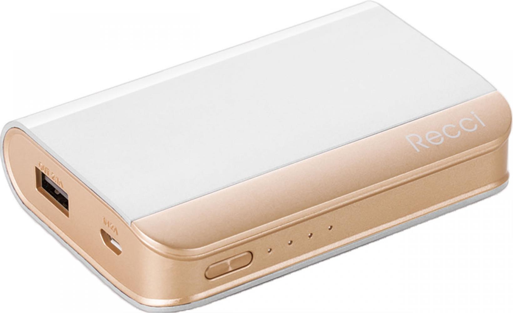 Купить Универсальные мобильные батареи, Портативная батарея Recci RE-7500 Elegant Power Bank Power IQ 2.1А Li-Pol 7500 mAh White