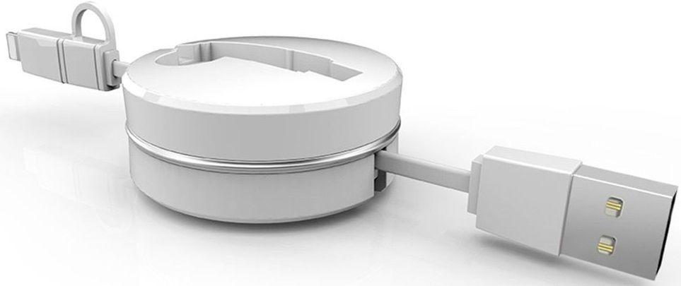 Купить Кабели синхронизации, Кабель-рулетка USB to Lightning/Micro USB White, Other