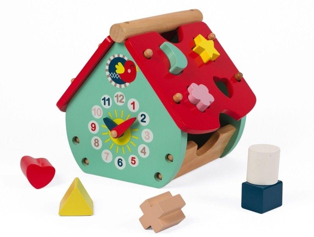 Купить Игрушки для малышей, Сортер Janod Домик с часами (J08008)
