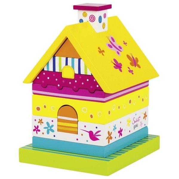 Купить Игрушки для малышей, Пирамидка деревянная goki Домик Susibelle (58549G)