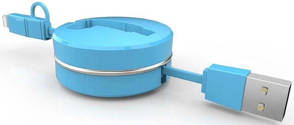 Купить Кабели синхронизации, Кабель-рулетка USB to Micro USB 1.5m тканевый Blue, Other