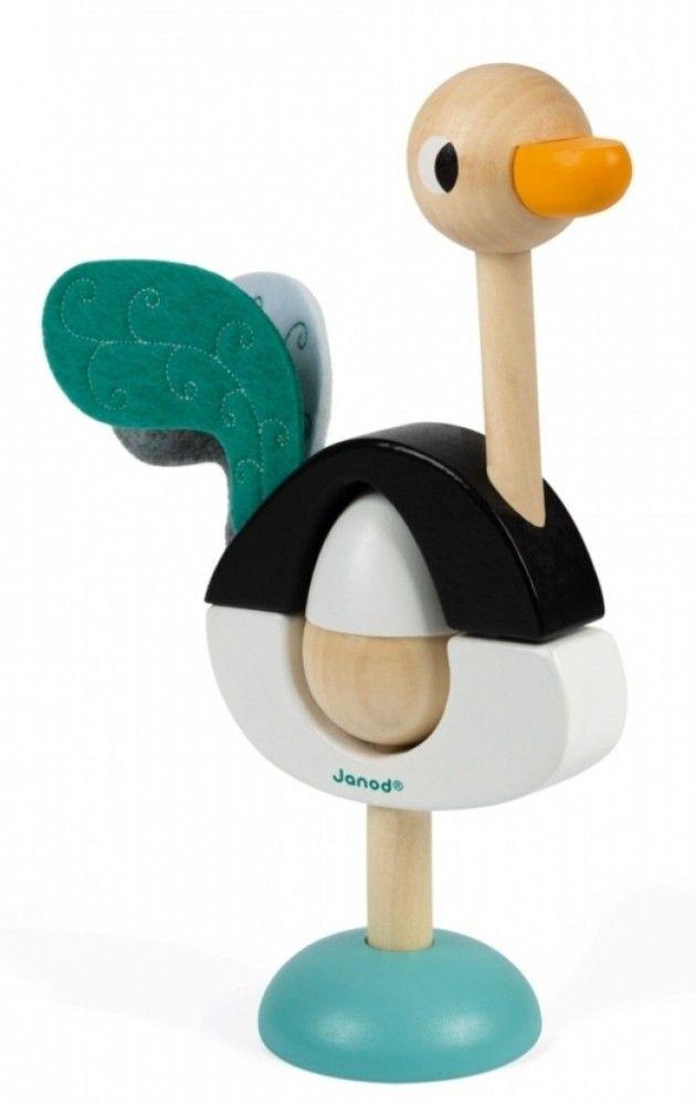 Купить Игрушки для малышей, Пирамидка деревянная Janod Страус (J08244)