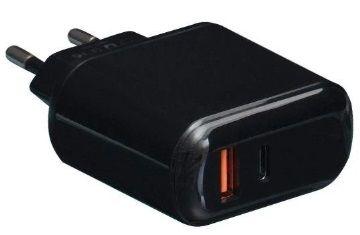 Купить Зарядные устройства, Сетевое зарядное устройство XO L42 USB+USB-C PD/QC3.0 LCD Black