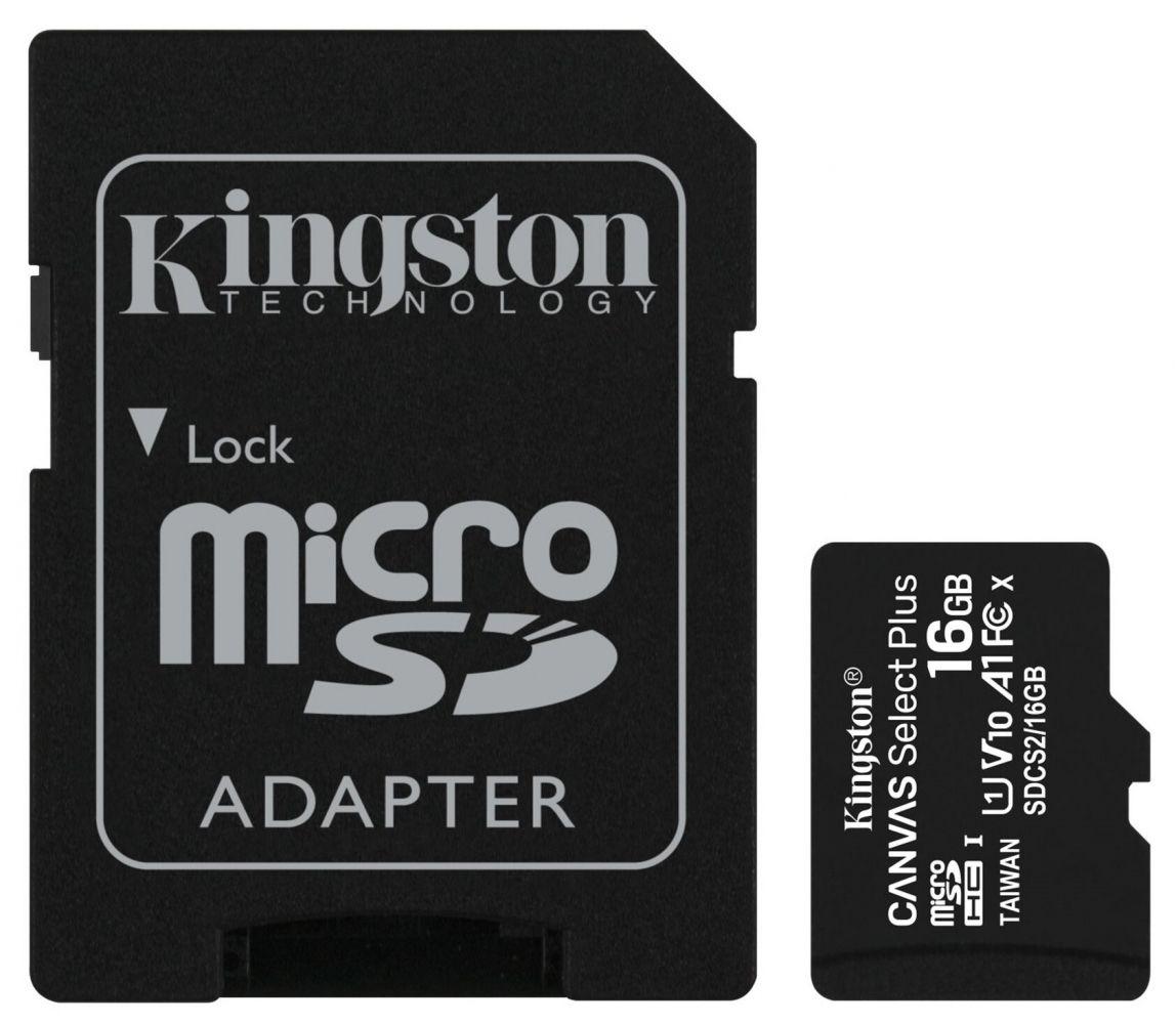 Купить Карты памяти, Карта памяти Kingston microSDHC 16GB Canvas Select Plus Class 10 UHS-I U1 V10 A1 + SD-адаптер (SDCS2/16GB)