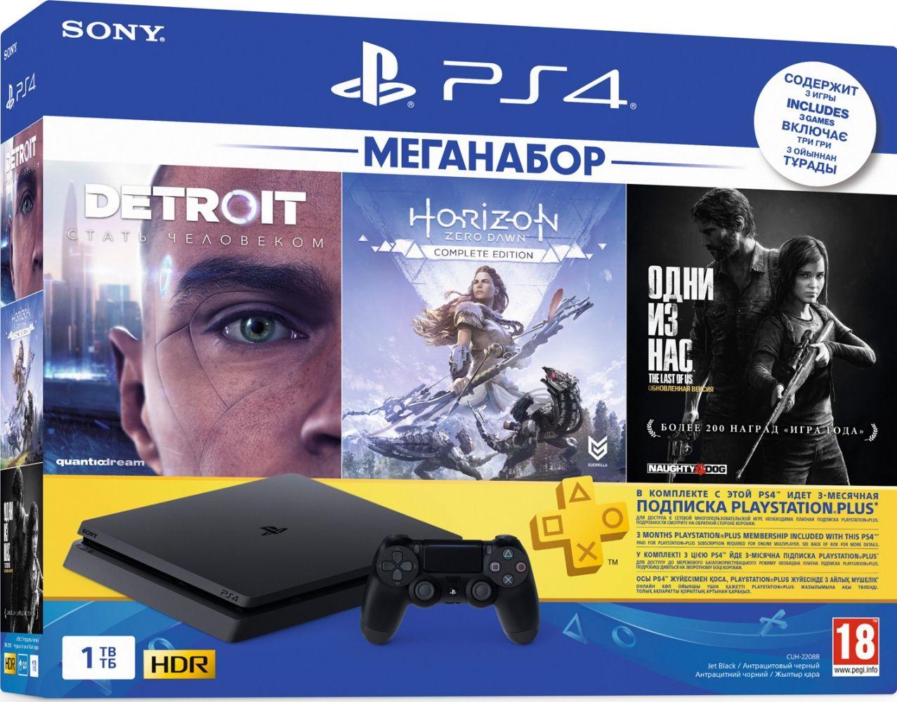 Купить Игровые консоли, Игровая приставка Sony PlayStation 4 Slim 1TB Black (CUH-2208B) HZD+DET+TLOU+PSPlus 3М