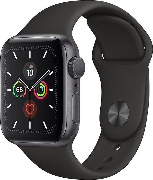 Купить Смарт часы, Apple Watch Series 5 40mm Space Gray Aluminum Case with Black Sport