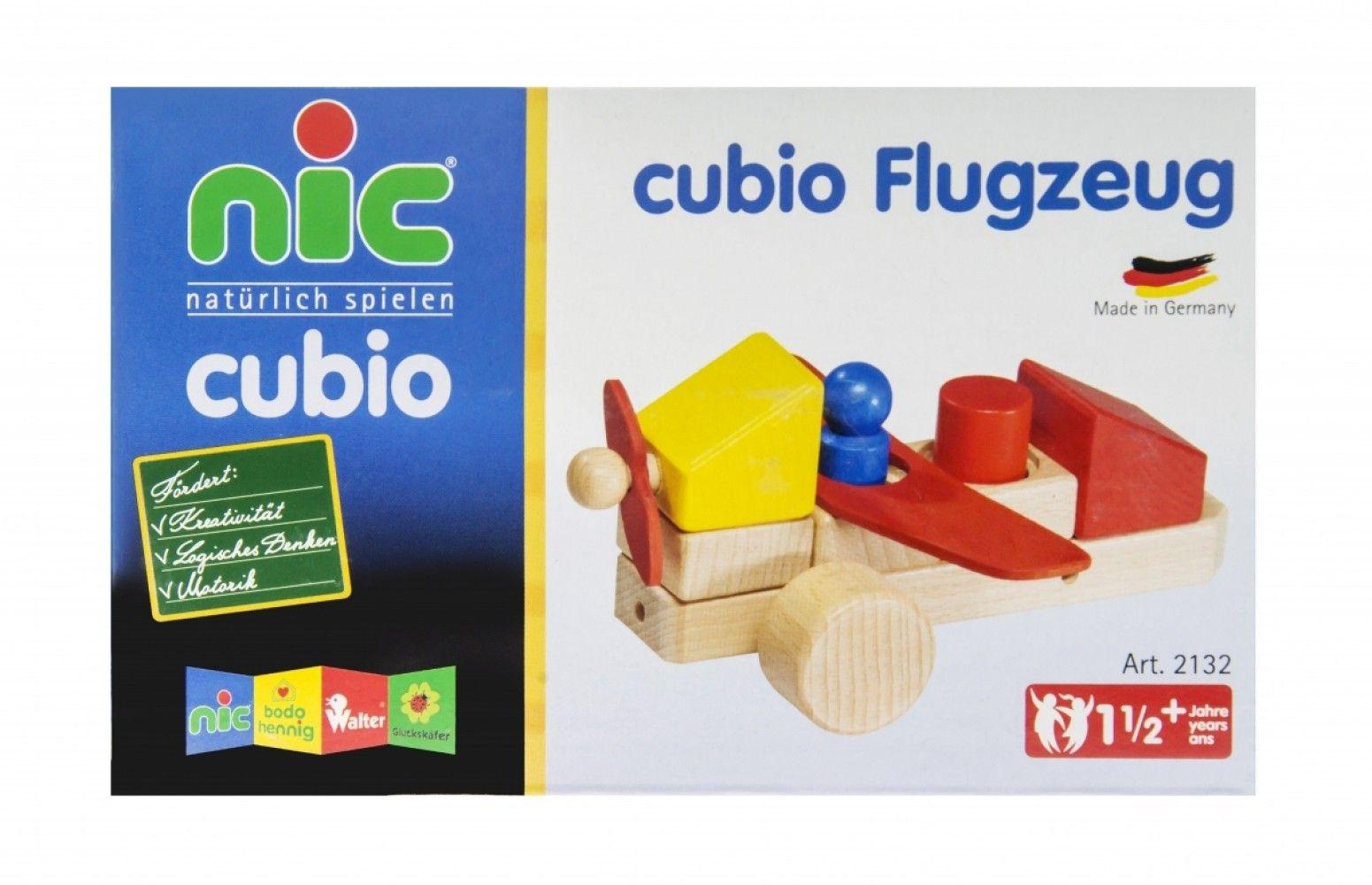 Купить Конструкторы, Конструктор деревянный Nic Toys Cubio Самолет 10 деталей (NIC2132)