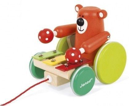 Купить Игрушки для малышей, Деревянная каталка Janod Мишка с ксилофоном (J08193)