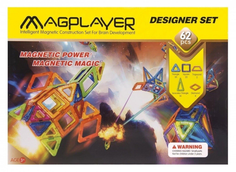 Купить Конструкторы, Магнитный конструктор MagPlayer 62 элемента (MPB-62)