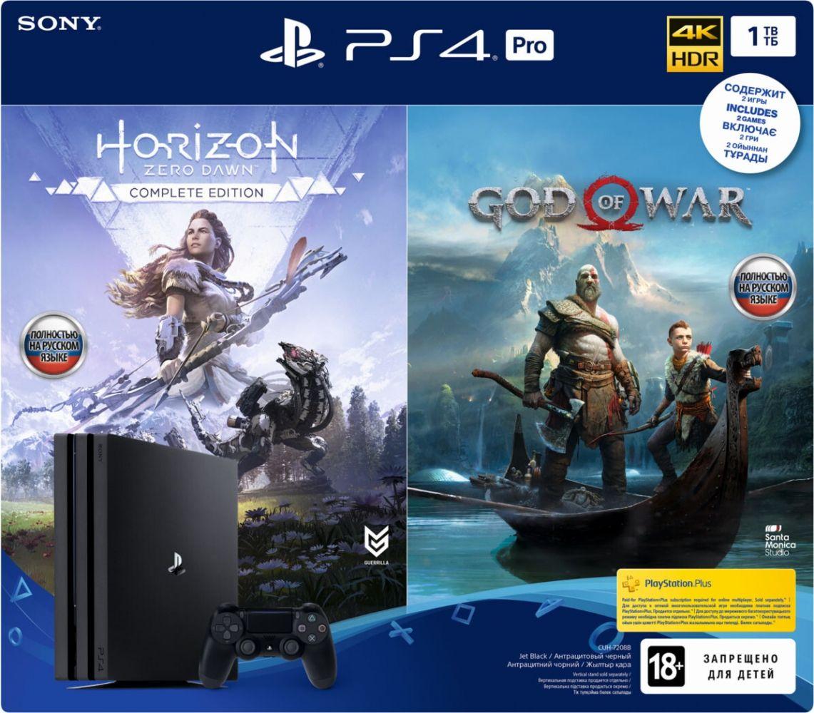 Купить Игровые консоли, Игровая приставка Sony PlayStation 4 Pro 1TB Rus (CUH-7208B) GOW + HZD CE Black