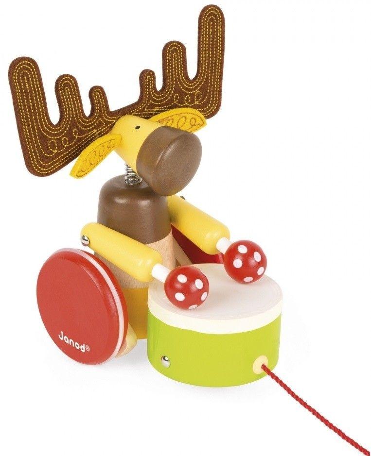 Купить Игрушки для малышей, Деревянная каталка Janod Лось с барабаном (J08199)