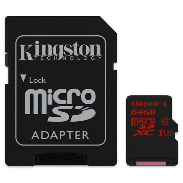 Купить Карта памяти Kingston MicroSDXC 64GB Class 10 UHS-I U3 + SD-adapter (SDCA3/64GB)