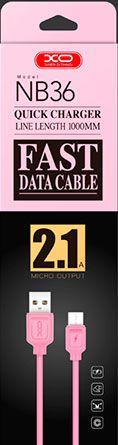 Купить Кабели синхронизации, Кабель USB XO NB36 microUSB 1m 2.1A Pink