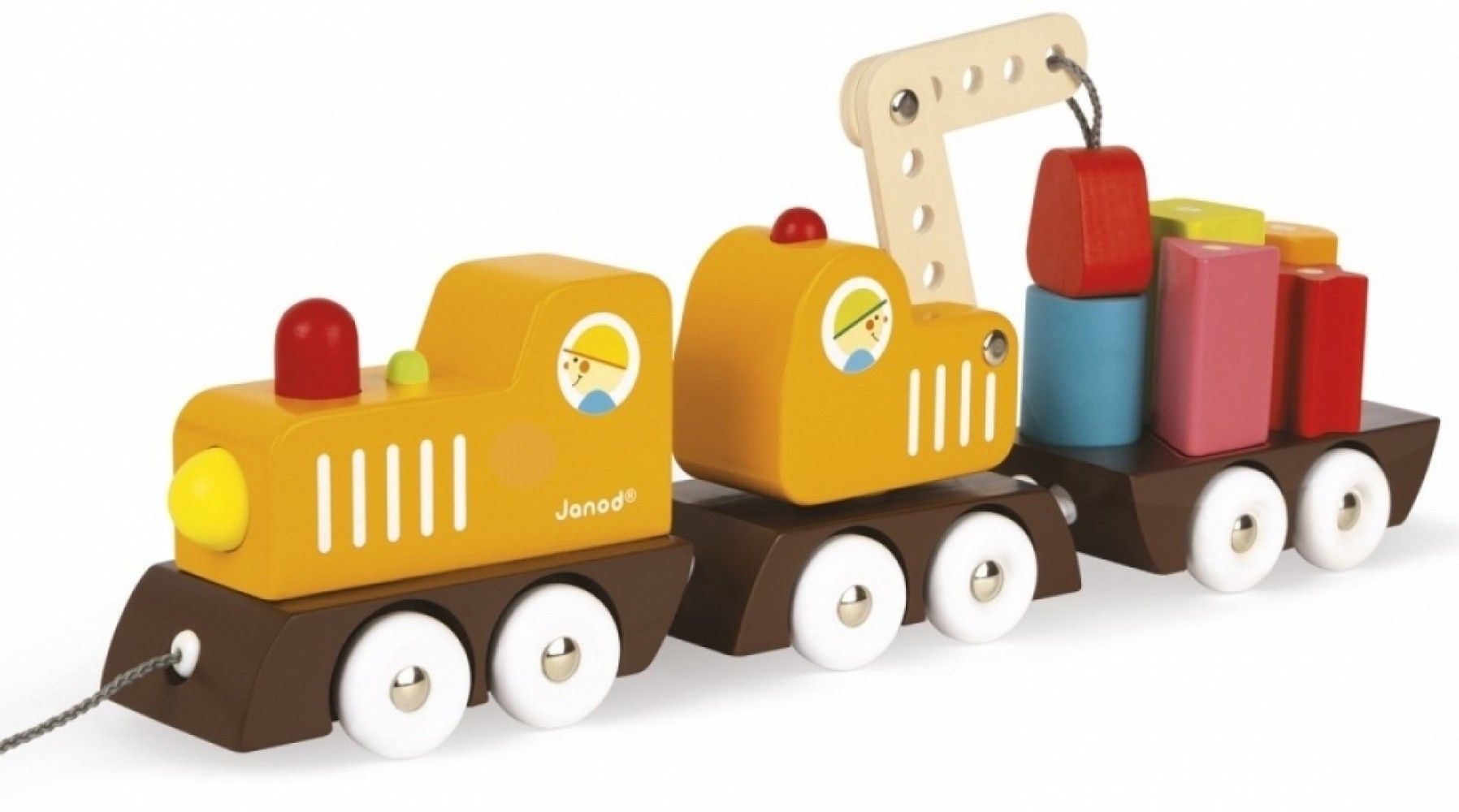 Купить Игрушки для малышей, Деревянная каталка Janod Поезд на магнитах (J08089)