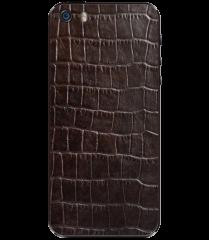 Кожаная наклейка Dark Brown Croco для iPhone 5S/SE