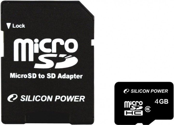 Карта памяти Silicon Power 4 GB microSDHC Class 4 + SD Adapter SP004GBSTH004V10-SP