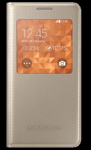 Чехол Samsung S View EF-CG850BFEGRU Gold для Galaxy Alpha
