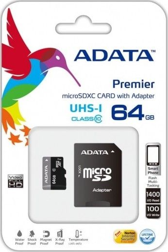 Карта памяти A-Data 64 GB microSDXC UHS-I + SD adapter Premier AUSDX64GUICL10-RA1