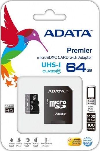 Карта памяти A-Data 64 GB microSDXC UHS-I + SD adapter Premier AUSDX64GUICL10-RA1