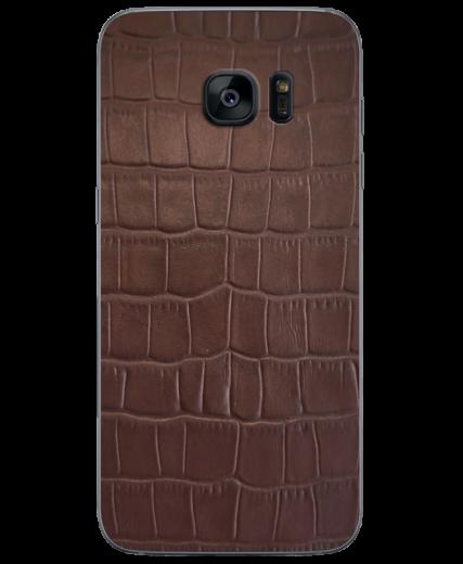 Кожаная наклейка Brown Croco для Samsung Galaxy S7 edge (G935)