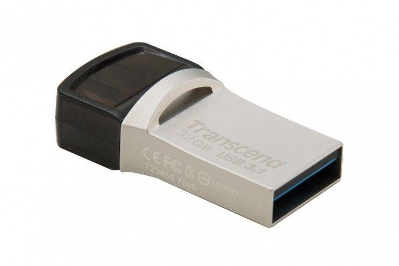 USB флеш накопичувач Transcend JetFlash 890 32GB USB 3.1 / Type-C Silver (TS32GJF890S)