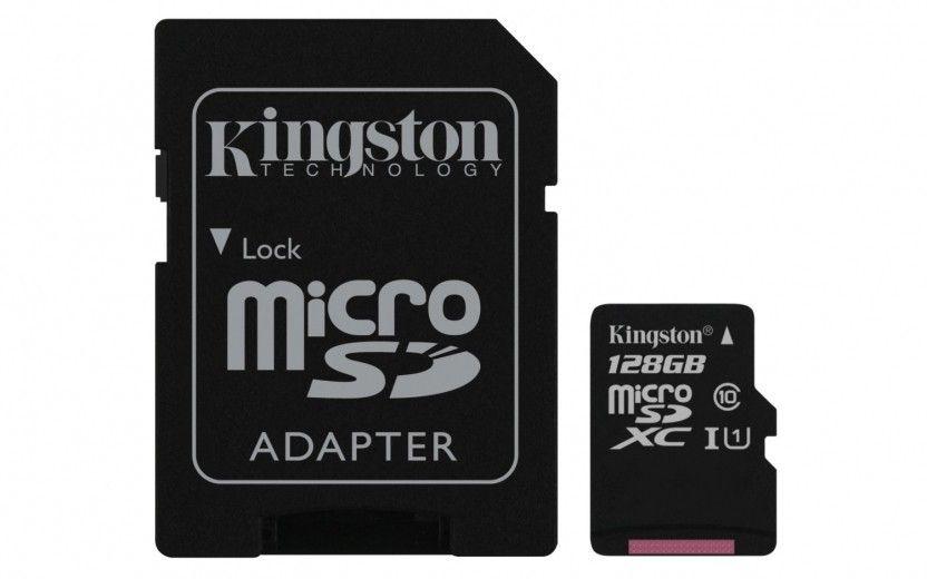 Карта памяти Kingston MicroSDXC 128GB UHS-I + adapter U1 (R45, W10MB/s)