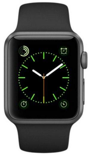 Смарт часы Apple Watch Sport 38mm Space Gray Aluminum с чёрным спортивным ремешком MJ2X2