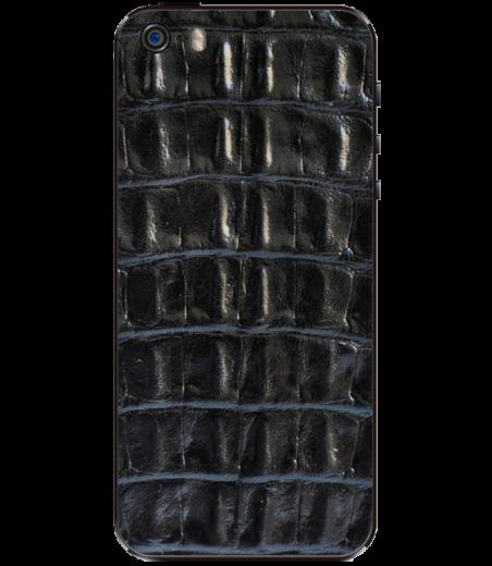 Кожаная наклейка Black Croco для iPhone 5S/SE