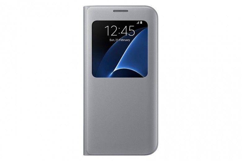Чехол Samsung S View для Galaxy S7 Edge Silver (EF-CG935PSEGRU)