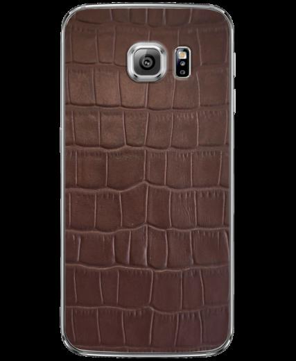 Кожаная наклейка Brown Croco для Samsung Galaxy S6 edge + (G928)
